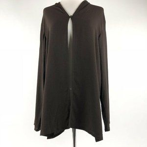 Eileen Fisher Cardigan Sz Medium M 100% Silk Sheer